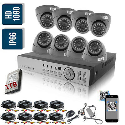 8CH 1080N AHD DVR Video 1080P 2.4mp Outdoor CCTV Camera Security System 1TB Kit