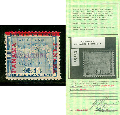 CANAL ZONE (US) 1904 Map of Panama 5c blue -violet handstamp - Sc# 2 mint w/cert