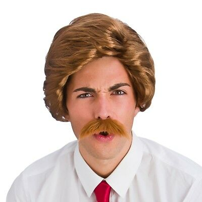 Brown 89s Funny Guy Wig TV Character Comedy Mens Fancy Dress Accessory