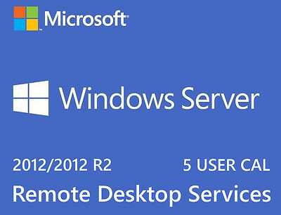 Microsoft Windows Server 2012 R2 Remote Desktop Services RDS 5 USER CAL Key