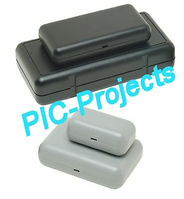 GREY box 130 * 65 x 31 project 2 part ABS enclosure Oval, PCB Mounting Points
