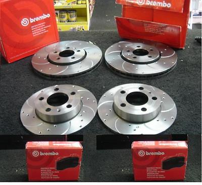 VW GOLF MK6 1.4TSi BRAKE DISC BREMBO DRILLED GROOVED PADS FRONT REAR
