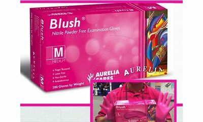 200 GLOVES Bright PINK Aurelia BLUSH Nitrile LATEX FREE Medical Exam DIsposable