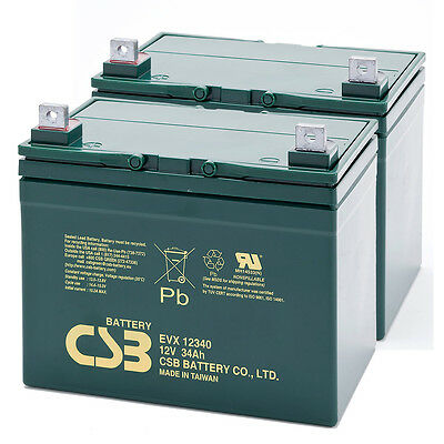 CSB 12V 34AH Pair Mobility Scooter Sealed Lead Acid Batteries EVX12340 Battery