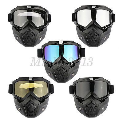 Motorcycle Riding Hunting Off-Road Helmet Removable Guard Mask Anti-Fog Goggles