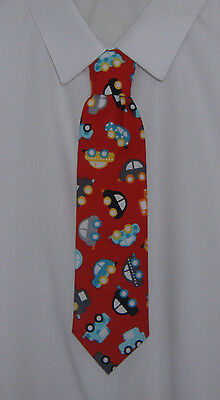 Boys Red Mini Cars Tie - Pre-tied elasticated