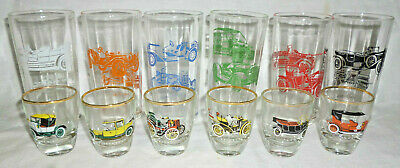 2 SETS of 6 RETRO COLOURFUL VINTAGE CAR GLASSES / TUMBLERS excellent cond 1950s