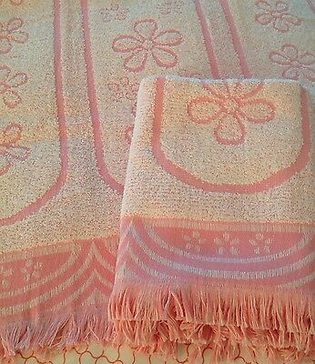 2 NEW Vintage (NOS) Cannon Fringed Towels/Pink Daisy & Garland Jacquard