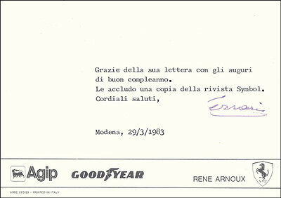 Enzo Ferrari - Typed Note Signed