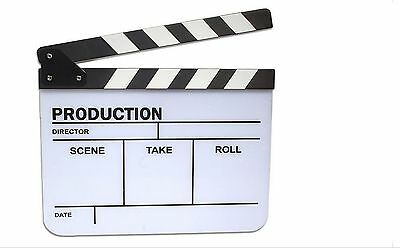 Clapper Board Slate For TV Film Movie - White & Black / High Quality Black an...