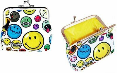 Smiley World Multi White Face Coin Clip Wallet Purse New With Tags