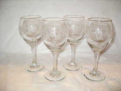 Set of 4 Libbey for Arby's Winter Wonderland Tall Wine Goblets!