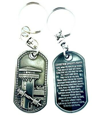 Correction Officer's Prayer Brushed Steel Keychain