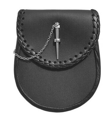 Celtic Embossed Black Leather Latch Pin Kilt Sporran With Belt And Chain 05