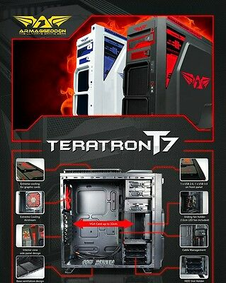Armaggeddon Teratron T7 PC ATX Gaming Computer Case Black / White Fans included