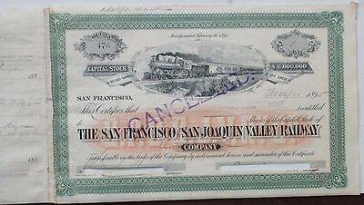San Francisco & San Joaquin Railway 1895 Stock Certificate  issued & cancelled