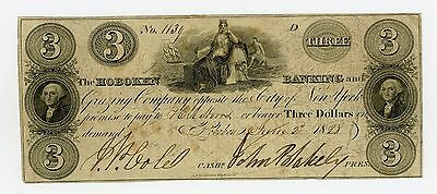 1828 $3 The Hoboken Banking and Grazing Co. - NEW JERSEY Note