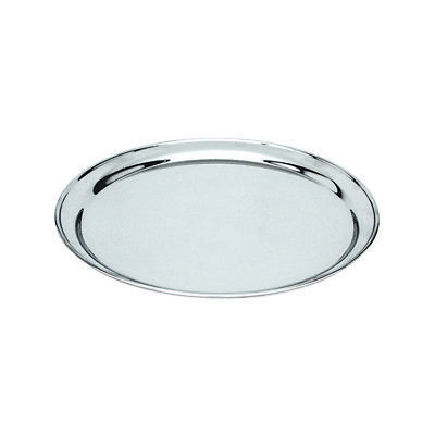 Round Platter 350mm Stainless Steel Rolled Edge Serving Plate Catering Tray