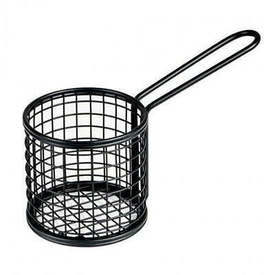 Fryer Style Serving Basket 80x84mm Round, Black, Chips / Fries / Sides /Tapas