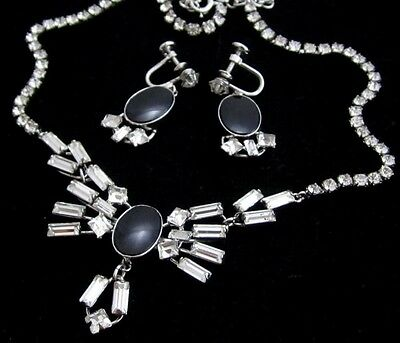 Vintage Carl-Art Ca Sterling Silver Rhinestone Necklace & Earrings Set*925*D804