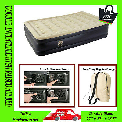 NEW Double Size Inflatable Raised Air Bed Flocked Mattress Electric Pump Airbed
