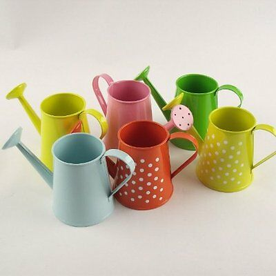 Watering Can L - Decorative Galvanised Steel Buckets Polkadot Green
