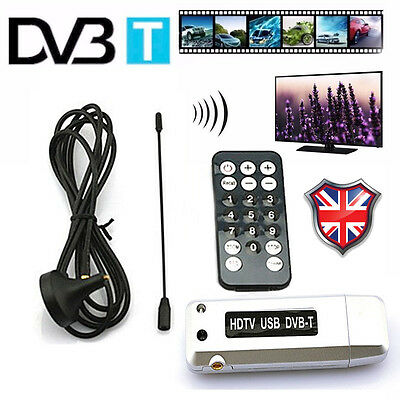 USB 2.0 Dongle Stick Digital DVB-T HDTV Freeview Tuner Receiver Remote PC Laptop