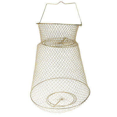 Gold Tone Steel Wire Foldable Fish Cage Fishing Keep Net 38cm Dia