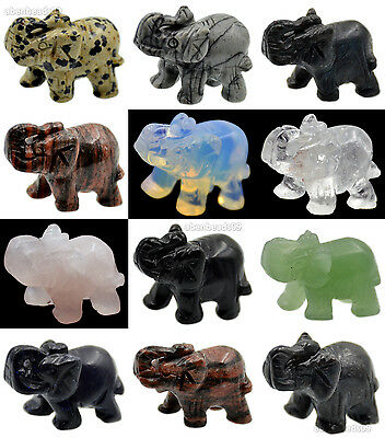 40mm Hand Carved Natural Gemstone Elephant Figurine