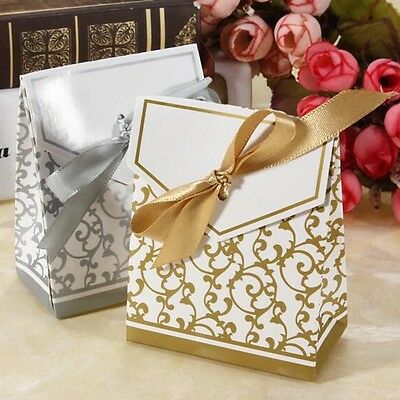 1-100pcs Wedding Favour Favor Sweet Cake Gift Candy Boxes Bags Anniversary Party