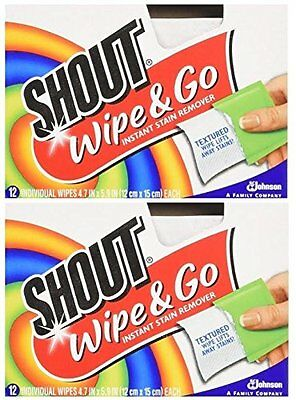 Shout Wipes - Portable Stain Treater Towelettes - Pack of (24) Wipes  New