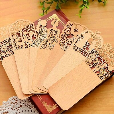 6 Pcs Book Mark Retro Wooden Hollow Bookmark Office School Supply Gift Random