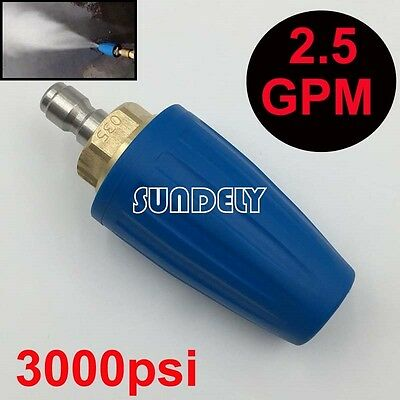 """3000PSI Pressure Washer Blue Rotating Turbo Nozzle With 1/4"""" Quick Plug 2.5 GPM"""