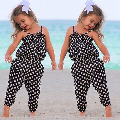 Kids Baby Girls Summer Strap Romper Jumpsuit Harem Pants Trousers Outfit Clothes
