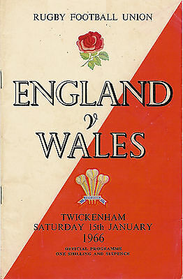 ENGLAND v WALES 15 Jan 1966 RUGBY PROGRAMME AT TWICKENHAM