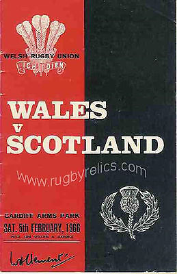 WALES v SCOTLAND 1966 RUGBY PROGRAMME - GOOD CONDITION