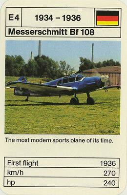 Vintage Single Swap Game Card: Messerschmitt Bf 108. Aeroplane.