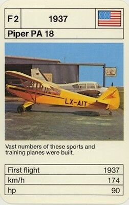 Vintage Single Swap Game Card: Piper PA 18. Aeroplane.