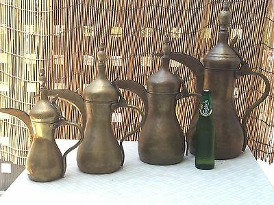 Rare Antique Islamic Arabic Coffee Pot Set Of 4 Hugh Dallah Middle Eastern Saud