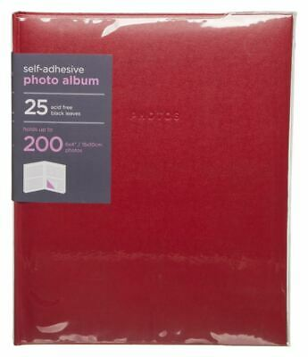 WHSmith Large Red Photo Album 25 Black Self Adhesive Leaves Case Bound
