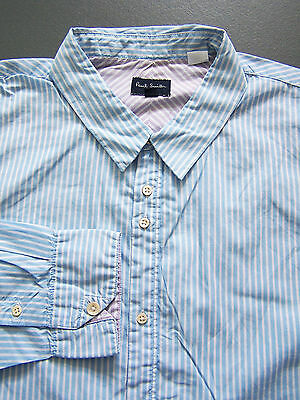 Paul Smith Jeans Striped Shirt Men's XL Extra Large Blue White Vintage LSHz485 #