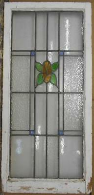 "LARGE OLD ENGLISH LEADED STAINED GLASS WINDOW Beautiful Butterfly 20.75"" x 45"""