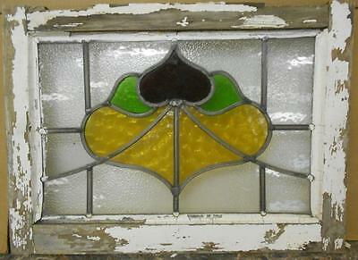 "OLD ENGLISH LEADED STAINED GLASS WINDOW Abstract Floral Design 20.25"" x 14.25"""