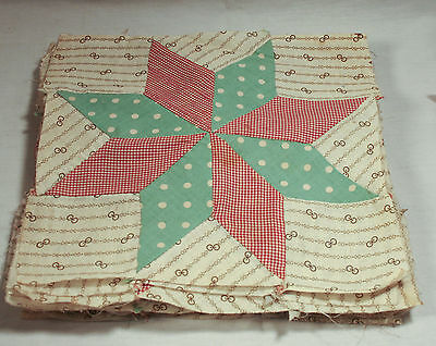Vintage Star Quilt Blocks 15 Blocks Hand Sewn Lime Red Beige and Browns