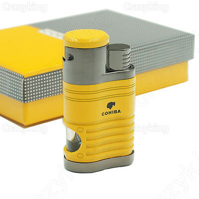 COHIBA Yellow Metal 4 TORCH JET FLAME CIGAR CIGARETTE LIGHTER With PUNCH