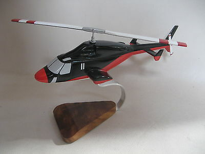 Bell 222 Airwolf Enemy Redwolf Helicopter Wood Model