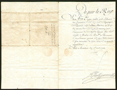 King Louis Xv (France) - Document Unsigned 04/01/1744  With Co-Signers