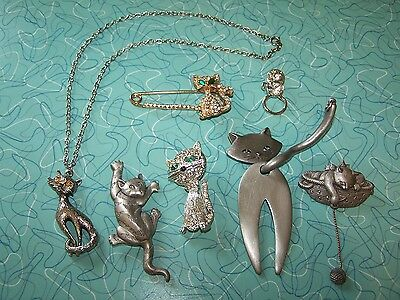 CAT PIN NECKLACE LOT! Vintage Retro Assorted Kitty JJ Rhinestone Set of 7 Pieces