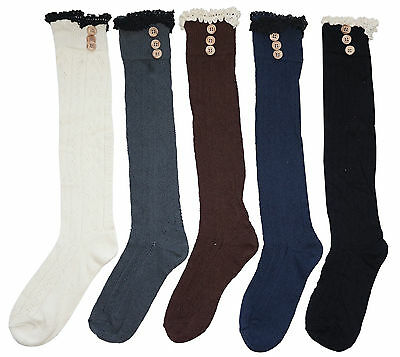 Ladies vintage cotton knee high socks with ruffled up lace & buttons girls gifts