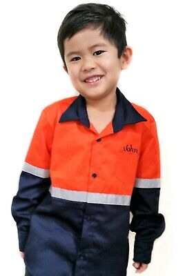 Kids Children Hi Vis Shirt Long Sleeve with Tape TEXT EMBROIDERY opt